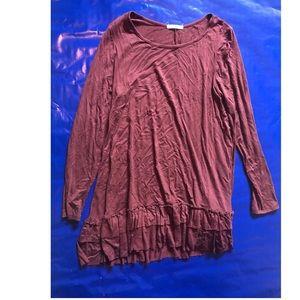 Burgundy Dark Red Ruffle Long Sleeve Top